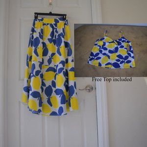Cremieux Emmy Lemon Print Skirt with free Top
